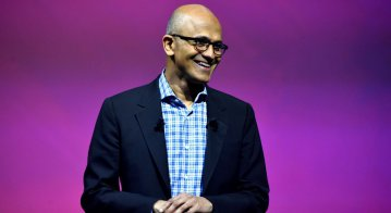 Microsoft Corporation chief executive Satya Nadella speaks during the Viva Technology trade fair in Paris.