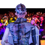 'Sophia the Robot' is seen on stage before a discussion by Hanson Robotics about Sophia's multiple intelligences and artificial intelligence (AI) at the RISE Technology Conference in Hong Kong