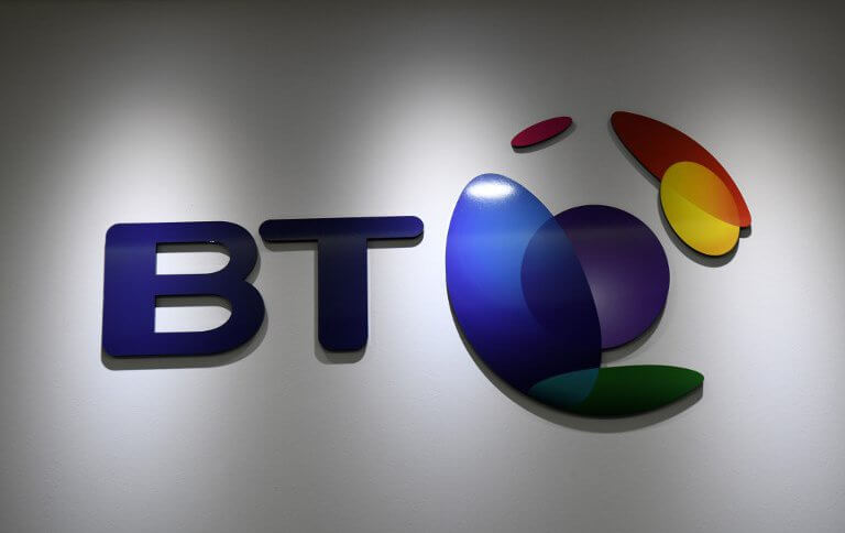 A general view shows the logo of BT at the office headquarters in Singapore