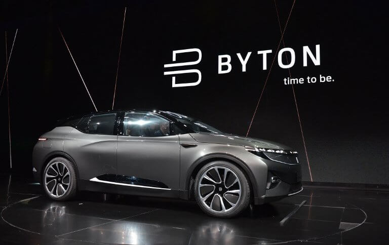 The Byton connected car is seen during its launch at CES 2018