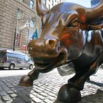 The landmark Charging Bull in Lower Manhattan represents the strength and power of the American People January