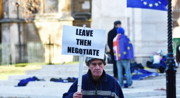 A pro Brexit protestor - for the UK 'crashing out' of the European Union without a deal