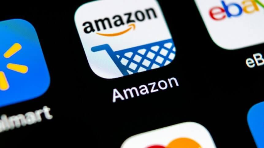 Amazon shopping application icon on Apple iPhone X screen