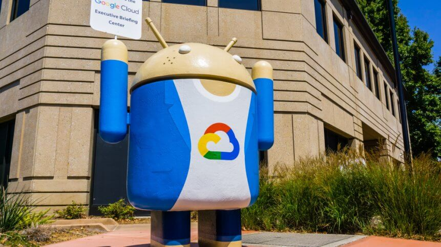 Google Cloud sign located at the entrance to one of their campuses located in Silicon Valley