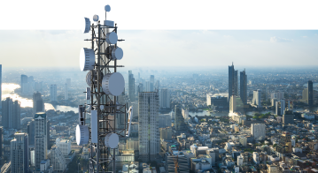 Telecommunication tower with 5G cellular network antenna.