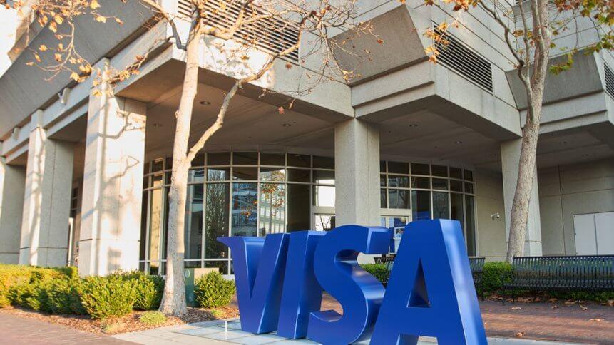The VISA logo seen at VISA headquarters