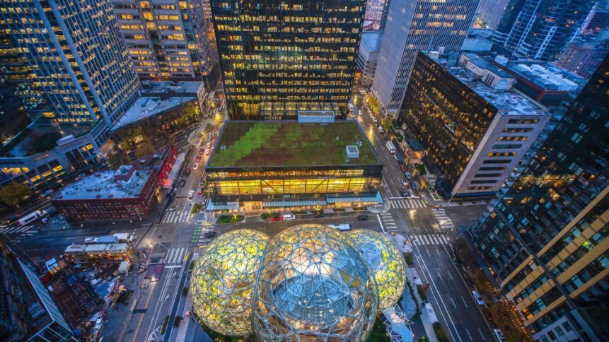 Aerial view of the Amazon Spheres at its Seattle headquarters