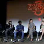 Members of the cast of record-breaking Netflix show Stranger Things