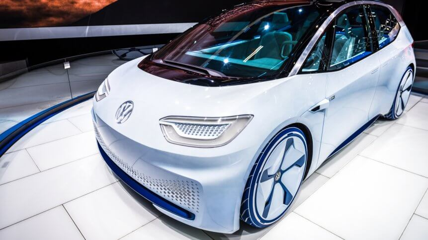 World premiere of a Volkswagen electric concept autonomous vehicle in 2016