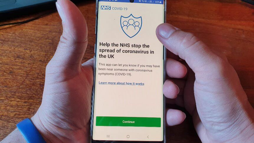 The newly released NHS Coronavirus contact tracing app. Source: AFP