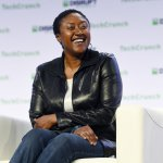 Zoox CEO Aicha Evans speaks onstage during TechCrunch Disrupt San Francisco 2019. Source: AFP