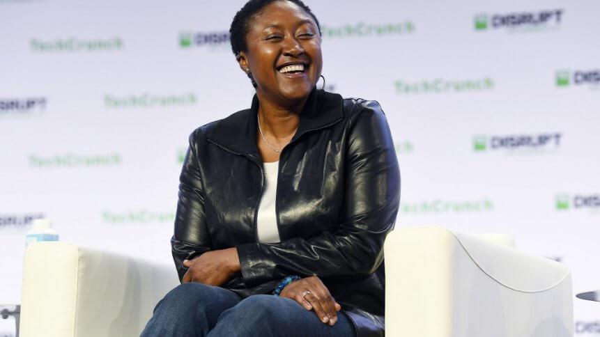 Zoox CEO Aicha Evans speaks onstage during TechCrunch Disrupt San Francisco 2019. Source: AFP