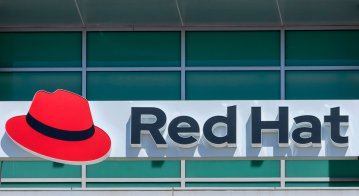 Red Hat logo and sign on open-source software company office in Silicon Valley