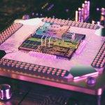 A 3D render of a quantum computer processor