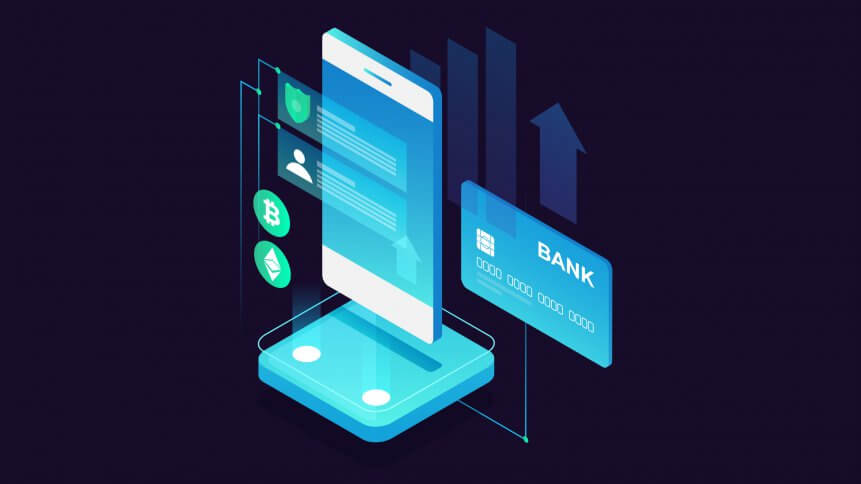 Concept of mobile payments, personal data protection. Transfer money from card. Isometric image of smartphone and bank card on dark background