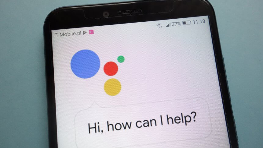 Google Assistant logo on smartphone