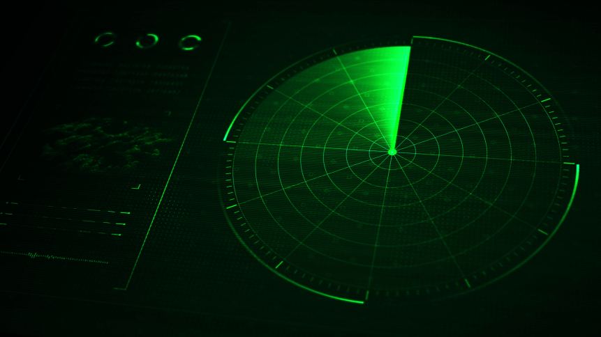 Digital blue realistic radar with targets on monitor in searching. Air search . Military search system . Navigation interface wallpaper . Navy sonar