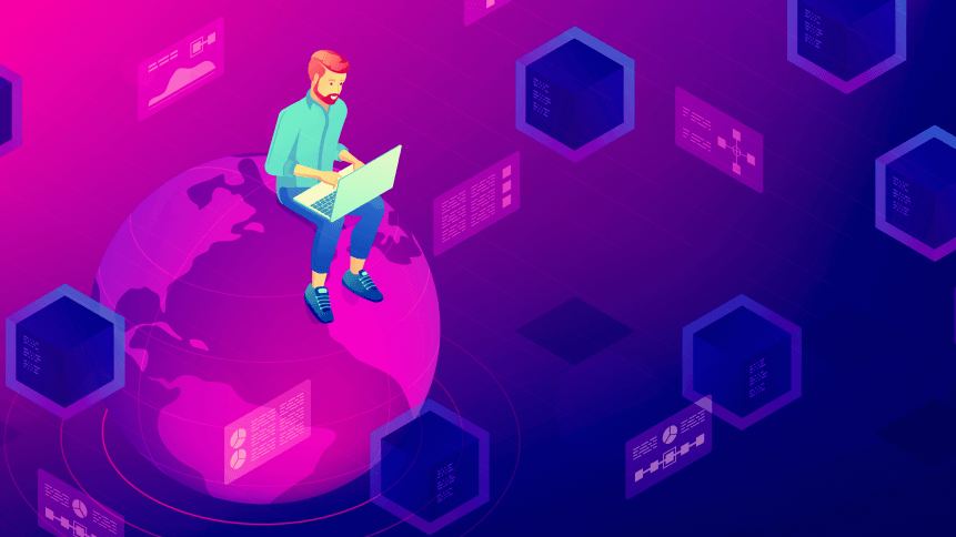 Isometric big data architect designer working on laptop sitting on the globe. Big data architecture, storage, service and analysis vector 3D isometric illustration on ultraviolet background.