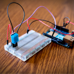 Humidity and temperature sensor prototype at school for IoT device. Weather box IoT DIY in education campus