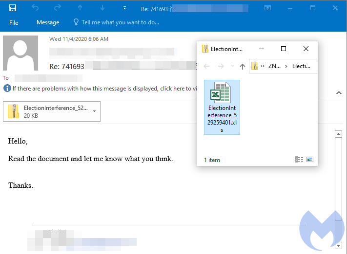 Malicious email with ElectionInterference attachment