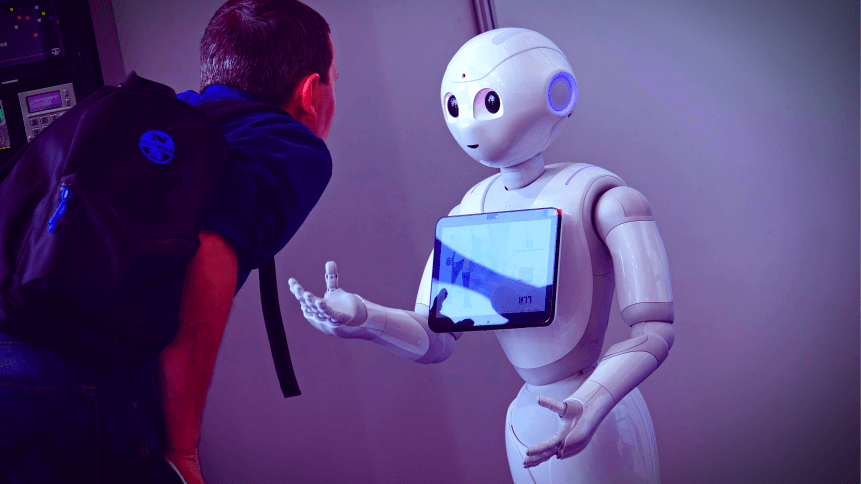 """""""Pepper"""" robot assistant with information screen in duty to give information"""