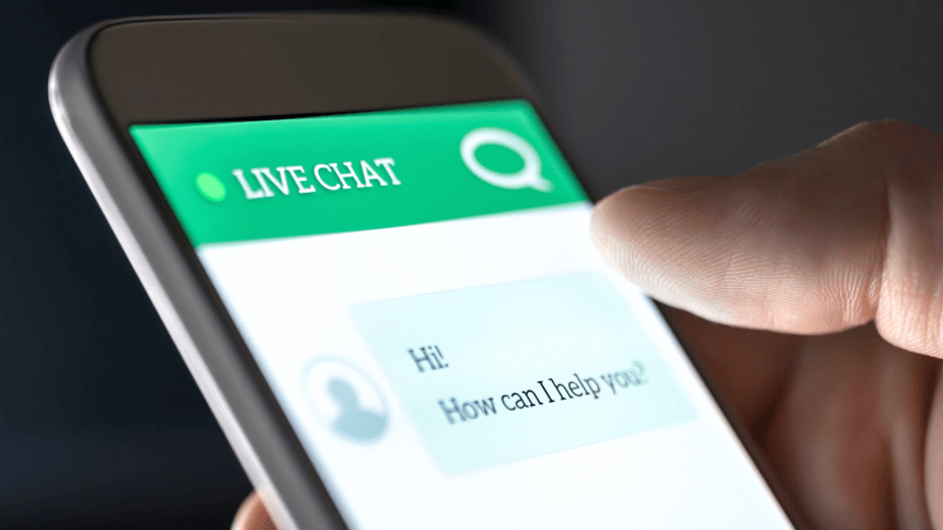 Customer service and support live chat with chatbot and automatic messages or human servant. Assistance and help with mobile phone app. Automated bot and robot. Smartphone helpdesk for feedback cell.
