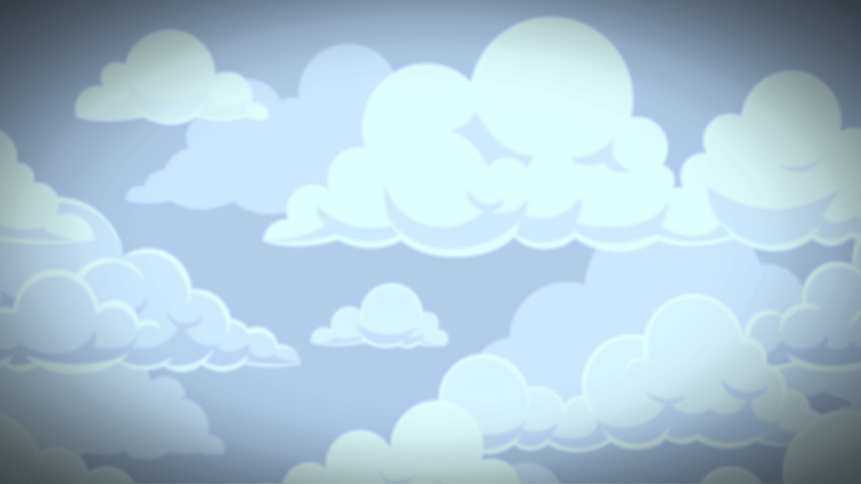 Cartoon seamless clouds background. Pattern with blue cloudy sky. Cloudscape panorama, cute kids wallpaper or cloth vector texture for illustration of overcast flat fluffy cloudiness