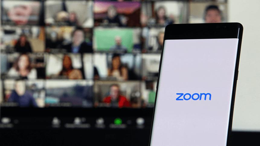 Smartphone showing Zoom Cloud Meetings app