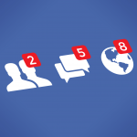 Social network notifications icons - Friends, Messages (Chats, Comments) and Notifications on screen. Idea - Internet friendship, communication, Online messaging, Social media services like Facebook.