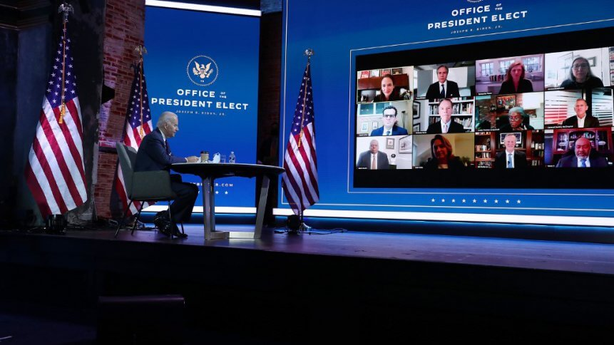 US President-elect Joe Biden receives a briefing on national security in a Zoom meeting with advisors